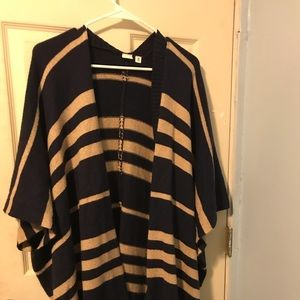 Navy and camel striped GAP poncho
